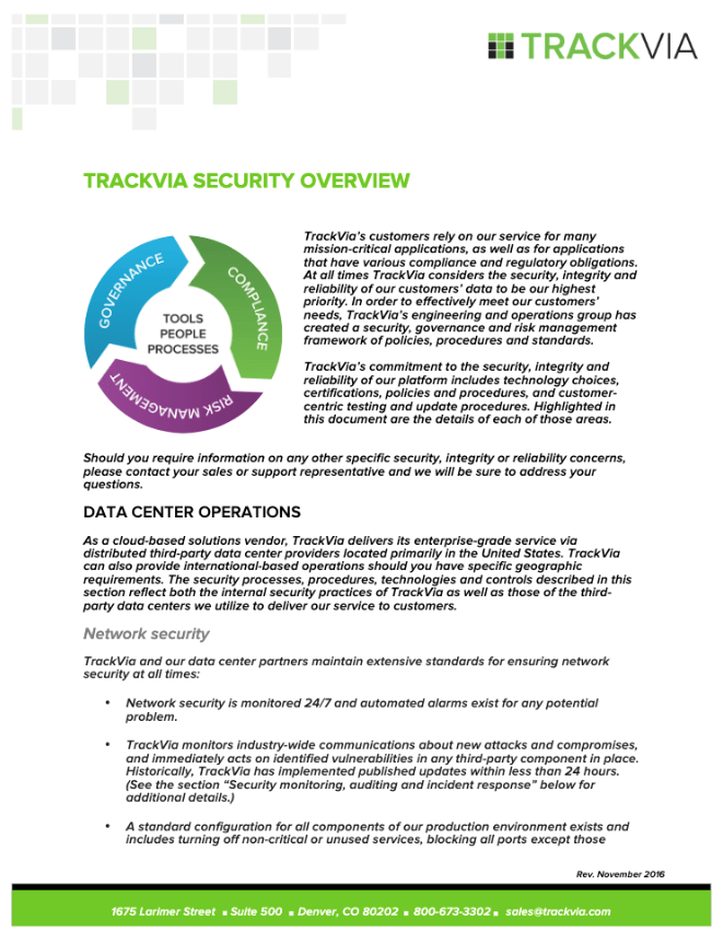TrackVia Security Overview